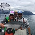 Brooke and Andy with a large Seward Silver Salmon!