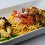 Vegetarian Options include our Garlic Marinated Organic Tofu with Ginger Tamari Glaze