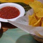 Chips, salsa and bean dip.