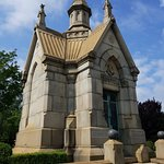 A mausoleum, like a mini church.