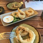 Beer batter onion rings light crispy crunchy
