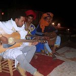 The Berber music and dancing around the campfire