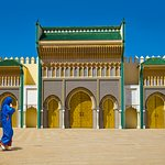 The golden Royal Palace gate in Fes