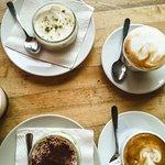 Cheese cake in a glas, tiramisu and cappuccino