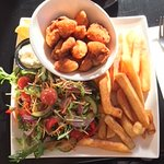 Crumbed scallops, Chips and salad