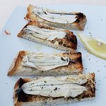 Fresh anchovies on rustic bread. YES!