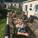 Breakfast outside the caravan!