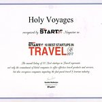 Holy Voyages recognized by Silicon India Startup City Magazine as 10 Best Startups in Travel Wor