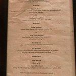 3 course set meal menu