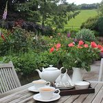 Tea in the garden at Pardlestone Farm.