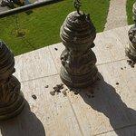 Balkon ohne Möbel, mit Tierexkrementen