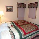 left bedroom with goofy lighting