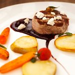 Pork Filet Mignon with a sweet red wine and chocolate sauce