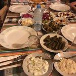 Cypriot dinner included things like beetroot and yogurt mash, fried aubergines with garlic yogur
