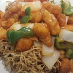 Sweet and sour chicken noodles