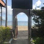 Door to beach from hotel grounds.