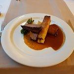 Beef rump steak, potato skewer, bean pods, pancetta, foie gras sauce