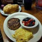 "Yum breakfasts...we opted for ""scones"" with honey butter and fresh fruit instead of hash browns"
