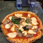 Margherita pizza with buffalo Mozz and sausage