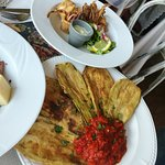 Fried calamary / Pan fried aubergine with red pepper and tomatoe sauce