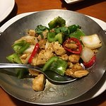 black pepper spicy chikn, only the peppers were spicy