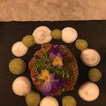 Rhubarb | cardamom | coconut | cashew| apple and rose water | pistachio dukka
