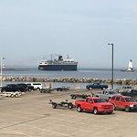 S.S. Badger exiting Ludington harbor.