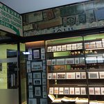Philately shop window with sign