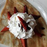 my birthday treat, crepe with strawberry and balsamico dressing