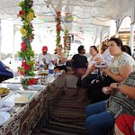 Breakfast time on the motor boat that followed the felucca