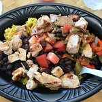 Tropichop bow with overcooked veggies, dry chicken, very good sauces