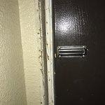Door with no lock and exposed door frame