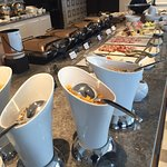 Breakfast offerings in the Executive Lounge