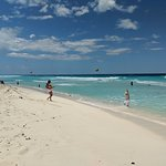 Beach was nice with warm water and white sand.