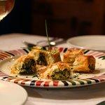 Borekas: Fillo pasty stuffed with leeks, greens, fresh herbs and feta