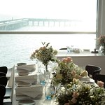Beautiful table decor and view for a wedding