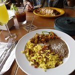 Breakfast burrito & eggs with bacon