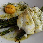 Sail Loft meal of Steamed Turbot, Asparagus, Seaweed Butter & Cured Egg Yolk