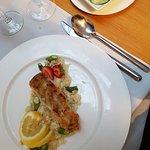 Seeteufel mit Spargelrisotto und Gurkensalat
