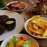 Sirloin Steak Burger Sides - photo by Simon Burrell