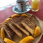 french toast with 1 fruit (coffee and juice order separately)