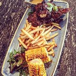 Southern Fried Chicken with Skin on Fries, Sweet Chilli Corn and Beercan Gravy