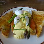 From the specials board - poached eggs, smoked salmon & asparagus
