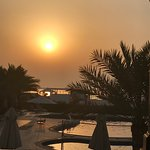 view from marjan bar towards childrens pool and beach at sunset