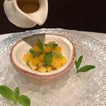 Macedonia de cítricos exóticos con helado de coco... Muero por ella