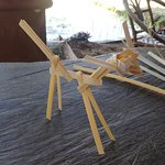 We learned to make some animals from bamboo