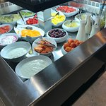 best breakfast spread!  Tons of fresh fruit, yogurt, and milk (Dairy and non-dairy) options