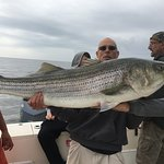 Michael Monteverde caught his personal best Striped Bass @ 47lbs on the Jenna P II