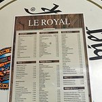 Décoration du Royal-Café: le menu