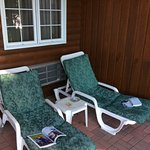 Loungers by hot tub